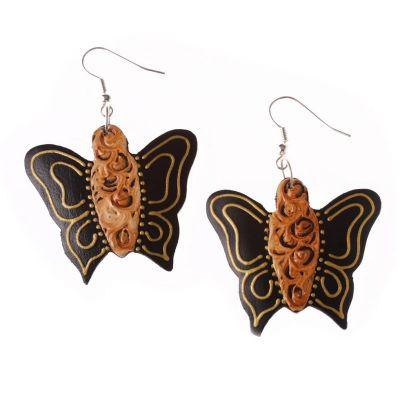 Malowane drewniane kolczyki Motylki