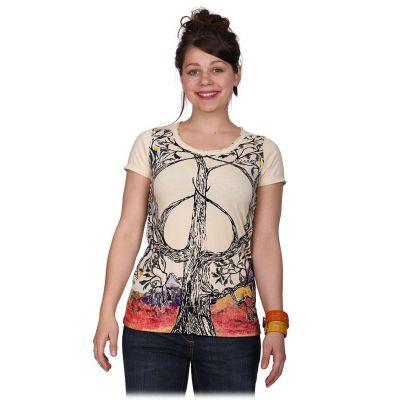 Damska koszulka Mirror z krótkim rękawem Tree of Peace beżowa   S, L