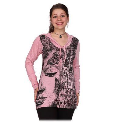 T-shirt damski z kapturem Pewny Buddha's Butterflies Pink   M, L