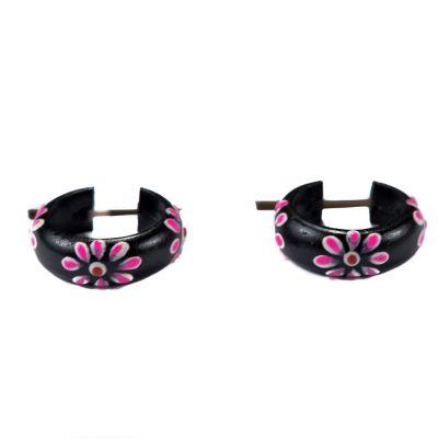 Kolczyki Kwiatowy pierścionek - różowy