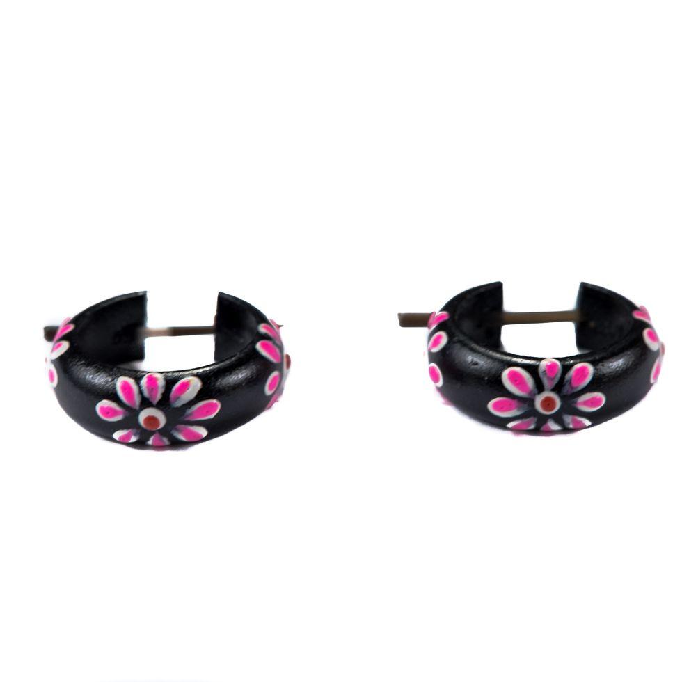 Kolczyki Kwiatowy pierścionek - różowy Indonesia