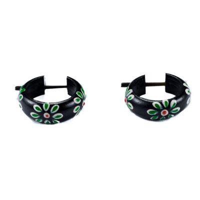 Kolczyki kwiatki - zielone