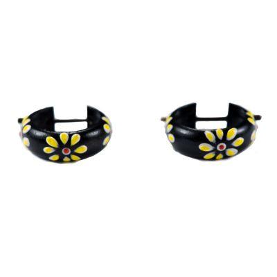 Kolczyki Pierścionek Kwiat - żółty