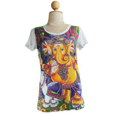 Damska koszulka Mirror z krótkim rękawem Ganapati w kolorze białym | S, M, L, XL