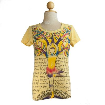 T-shirt damski Tree of life yoga Żółta
