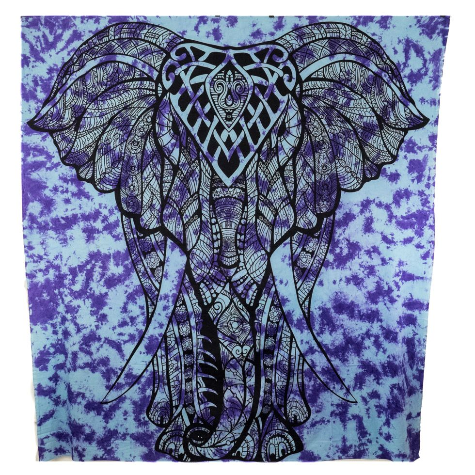 Bawełniana narzuta Duży słoń - fiolet India