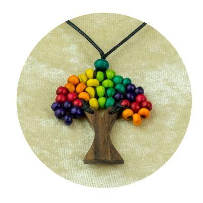 Drewniana zawieszka Sapling - w jaskrawych kolorach   duży