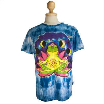 T-shirt Medytująca Żaba Niebieska