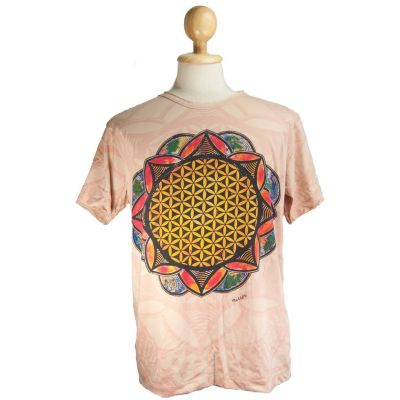 T-shirt Flower of Life beżowy