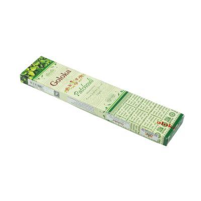 Goloka Patchouli kadzidełka | Pudełko 15 g, Opakowanie zawiera 12 pudełek w cenie 10