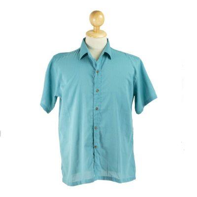 Męska koszula z krótkim rękawem Jujur Teal Blue | M, L, XXL, XXXL
