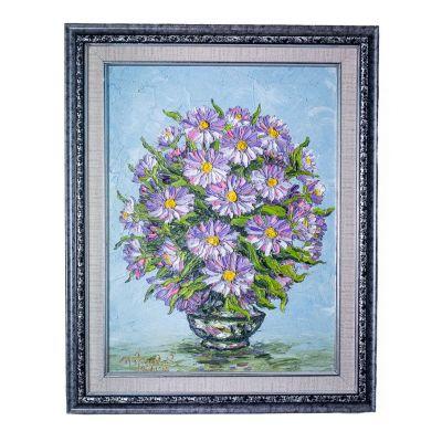 Obraz wazonu z fioletowymi kwiatami