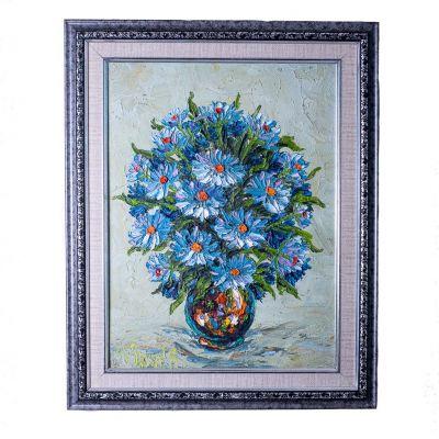 Obraz wazonu niebieskich kwiatów