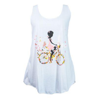 Koszulka bez rękawów Darika Fragrant Bike White