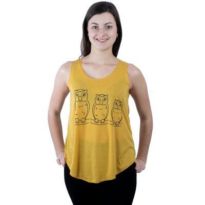 Koszulka bez rękawów Darika Owl Family w kolorze żółtym