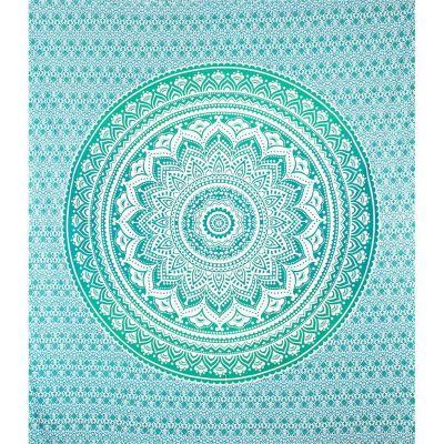 Bawełniana narzuta Mandala - zielono-turkusowa