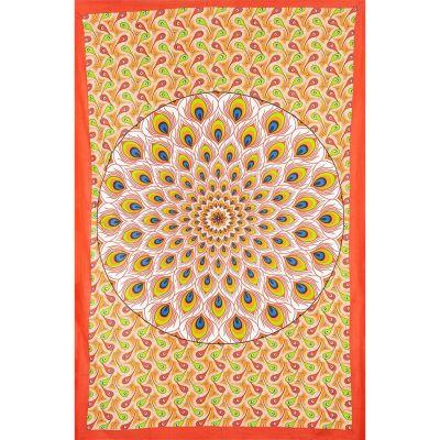 Pled Pawi Mandala - Czerwono-Pomarańczowy