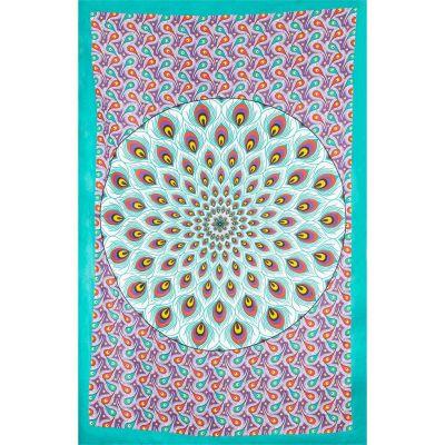 Okładka mandali Pawi - zielono-fioletowa