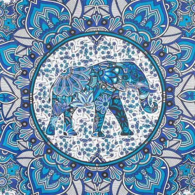 Bawełniana narzuta Słoń w mandali - błękitna