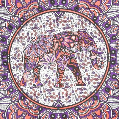 Bawełniana narzuta Słoń w mandali - różowo-fioletowa India