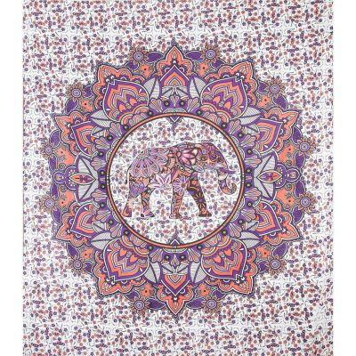 Pled Elephant in a mandala - różowo-fioletowy