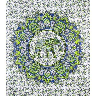 Pled Elephant in a mandala - zielono-niebieski