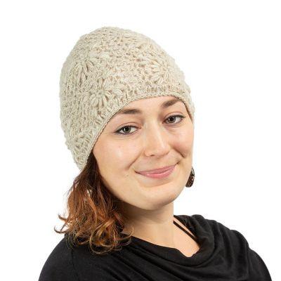 Wełniana czapka Bardia Cream na szydełku | czapka, komplet czapek i opasek, zestaw czapek, opasek na ramię i opaski