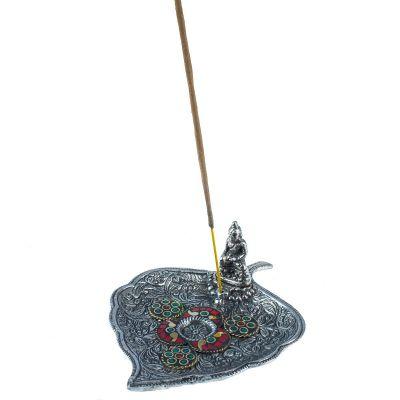 Metalowy stojak na kadzidełka Liść z Buddą i mozaiką 2