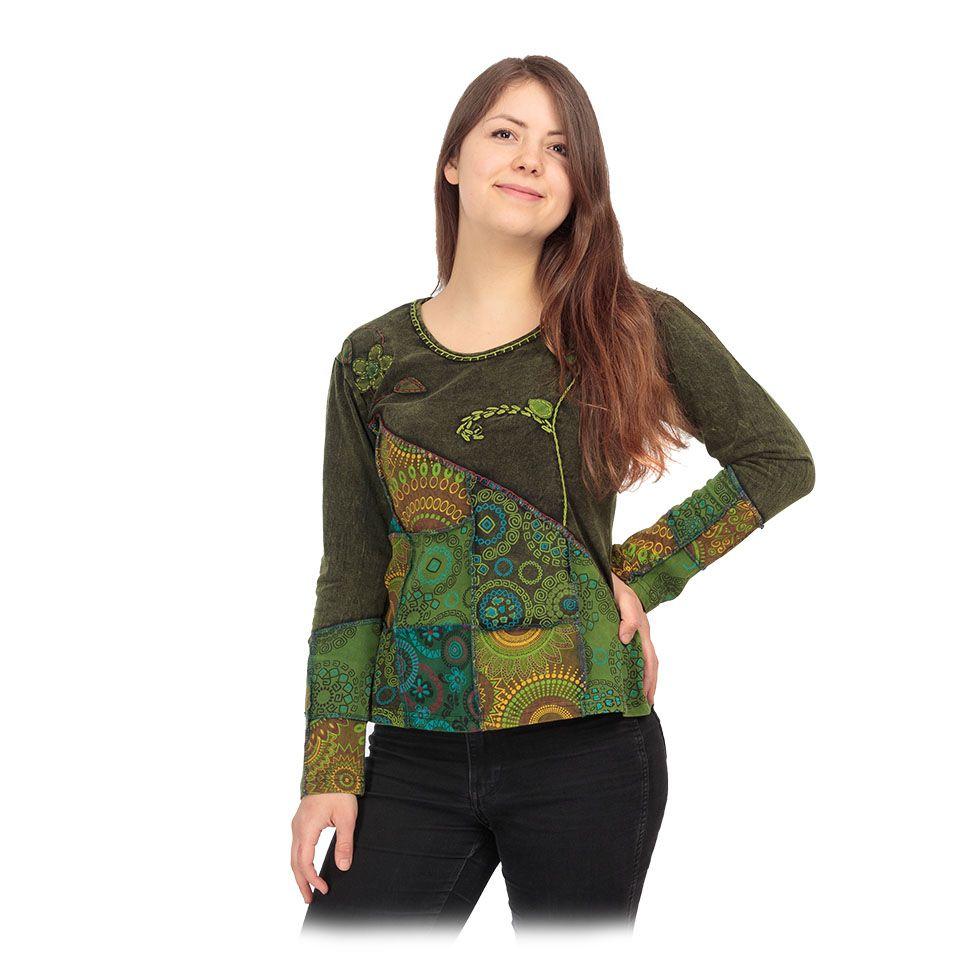 Top / bluzka w stylu etnicznym Rafia Hijau Nepal