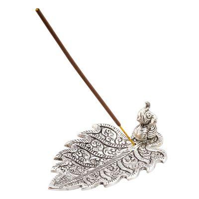 Metalowy stojak na kadzidełka Elephant on a leaf