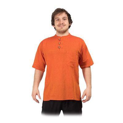Kurta Pendek Jeruk - męska koszula z krótkim rękawem | S, M, L, XL, XXL, XXXL