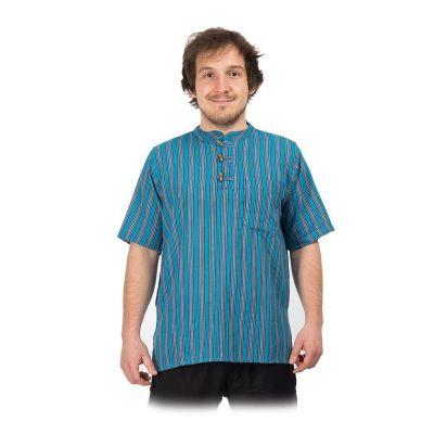 Kurta Pendek Pirus - męska koszula z krótkim rękawem | S, M, L, XL, XXL, XXXL