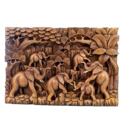Rzeźba w drewnie Stado słoni w lesie