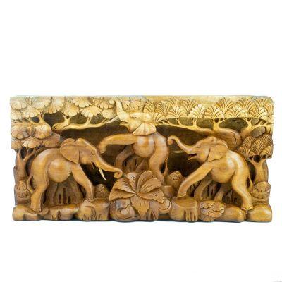 Rzeźba w drewnie Trzy szczęśliwe słonie