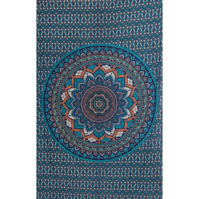 Bawełniana narzuta Mandala lotosowa – niebieski India