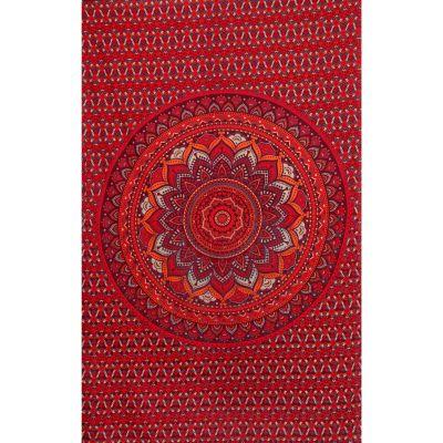 Bawełniana narzuta Mandala lotosowa – czerwony/fioletowy