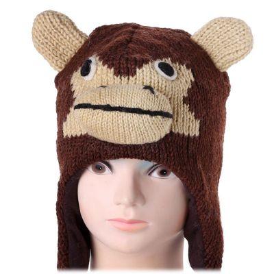 Wełniana czapka małpa