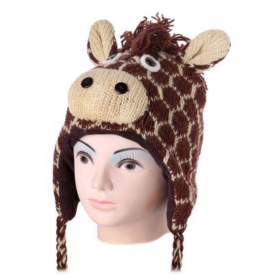 Wełniana czapka Giraffe - brązowa   M, L
