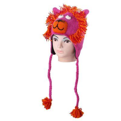 Wełniana czapka Lion - różowa   M, L