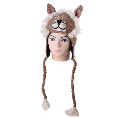 Wełniana czapka Lion - beżowa   M