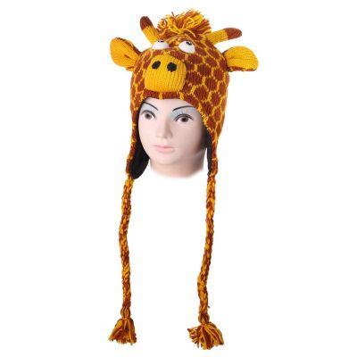 Wełniana czapka Giraffe - pomarańczowa   L