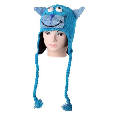 Wełniana czapka Cat - turkusowa   S, M, L