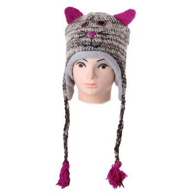 Wełniana czapka Cat - pręgowana   L