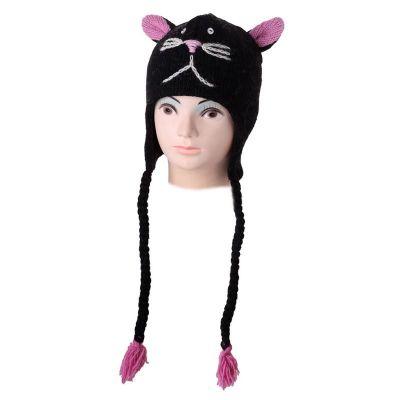 Wełniana czapka Cat - czarna
