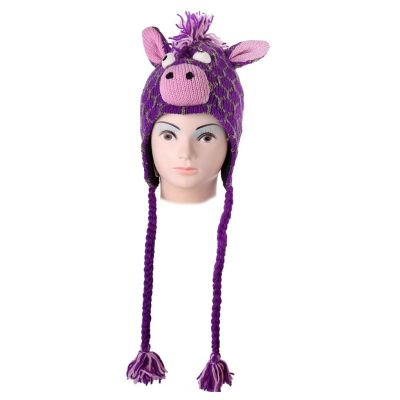 Wełniana czapka Giraffe - fiolet   M, L