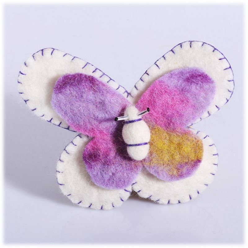 Filcowa broszka Butterfly White