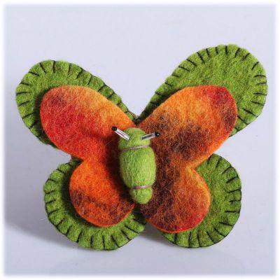 Broszka Motyl Zielono-pomarańczowa