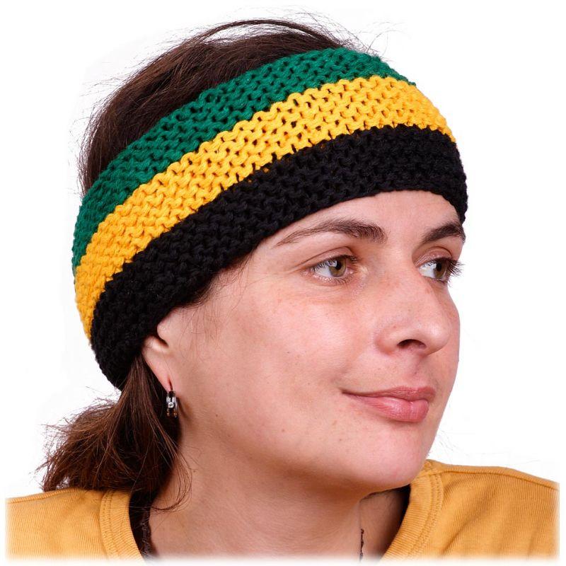 Opaska na głowę zielono-żółto-czarna