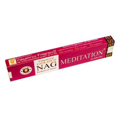 Golden Nag Meditation kadzidełka | Pudełko 15 g, Opakowanie zawiera 12 pudełek w cenie 10