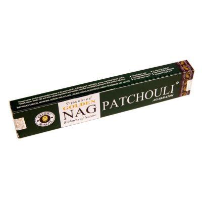 Kadzidełka Golden Nag Patchouli | Pudełko 15 g, Opakowanie zawiera 12 pudełek w cenie 10